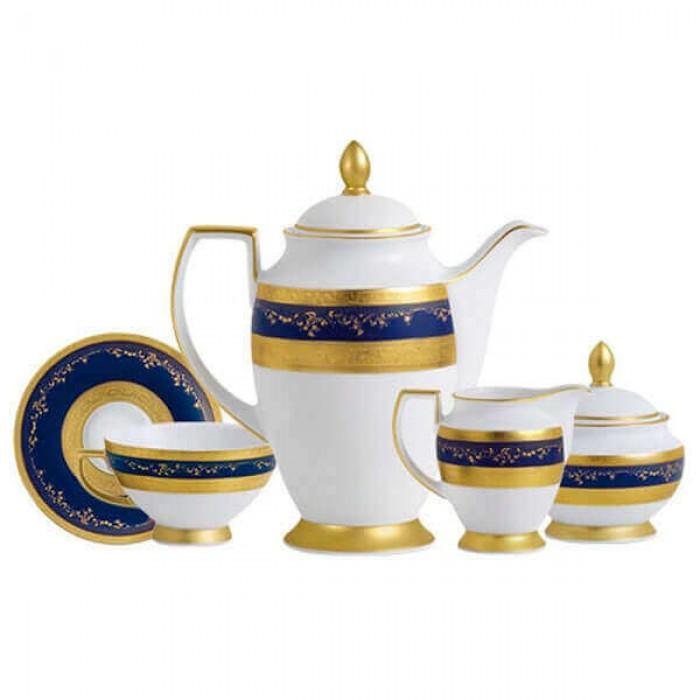 Фарфор Royal Gold - Кофейный Набор 6 Персон Кобальт (15 Единиц)