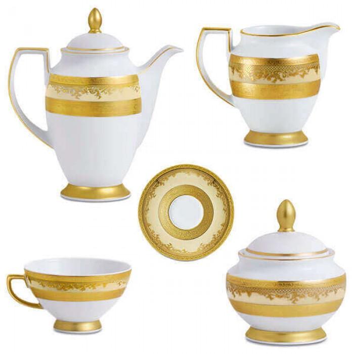 Фарфор Royal Gold - Кофейный Набор 6 Персон Кремовый (15 Единиц)