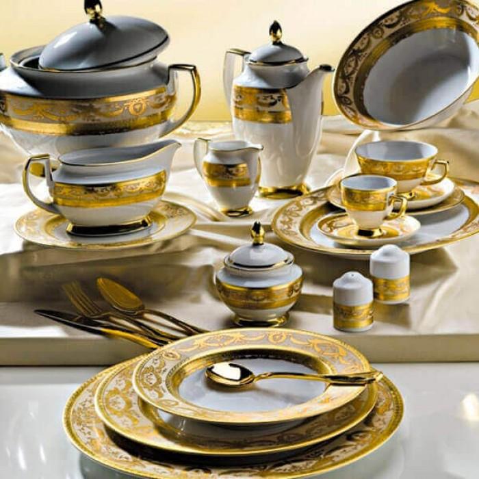 Фарфор Royal Gold - Полный Набор на 6 Персон Кремовый (40 Единиц)