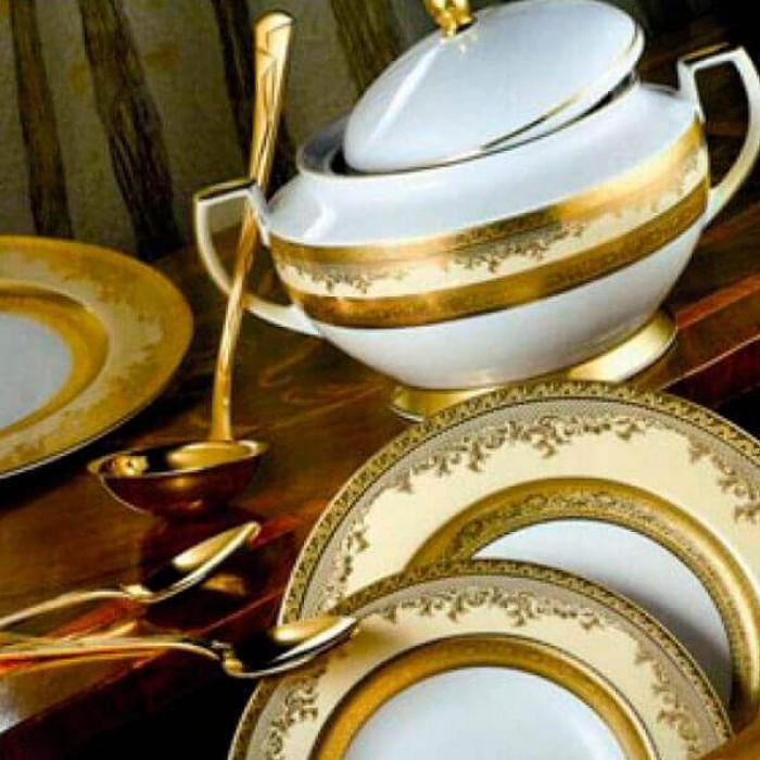 Фарфор Royal Gold - Набор для Ужина 6 Персон Кремовый (25 Единиц)