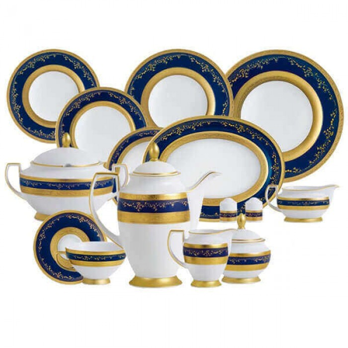 Фарфор Royal Gold - Полный Набор на 12 Персон Кобальт ( 70 Единиц )