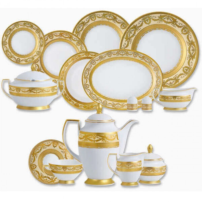Фарфор Imperial Gold - Полный Набор на 12 Персон Кремовый (70 Единиц)