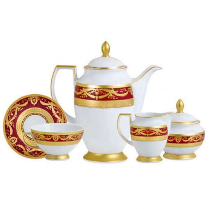 Фарфор Imperial Gold - Кофейный Набор 12 Персон Бордо (27 Единиц)