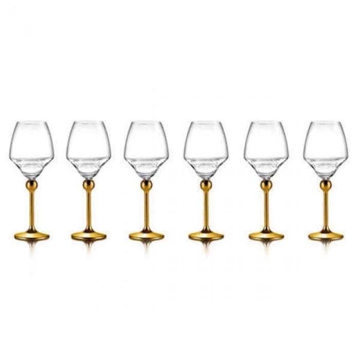 Бокалы для белого вина с золотым декором на ножках - 6 ед.