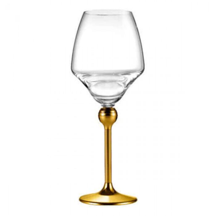 Бокалы для красного вина с золотым декором на ножках - 6 ед.