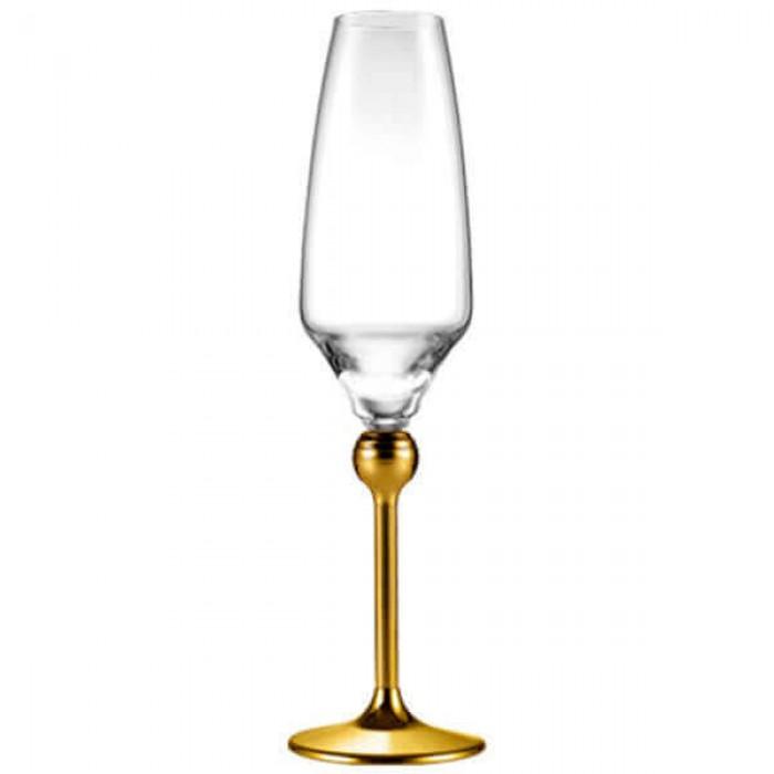 Бокалы для шампанского с золотым декором на ножках - 6 ед.