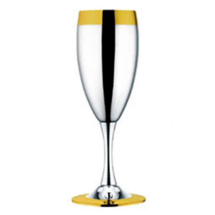 """Набор из 6 шт фужеров для шампанского """"Ла Перле""""- посеребренный с золотым декором"""