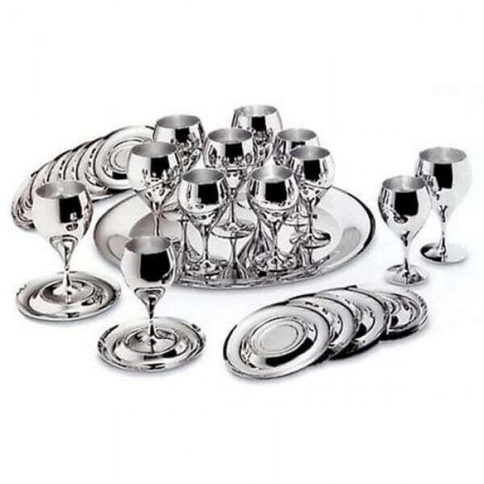 """Набор бокалов для вина """"Принц"""" - с серебряным покрытием"""