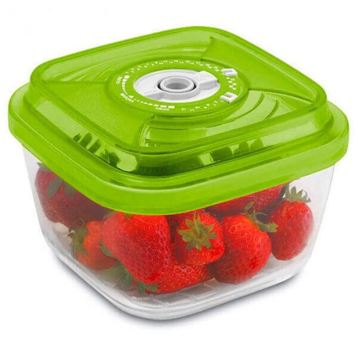 Стеклянный контейнер 15x15x8,5 см 1,1л зеленый
