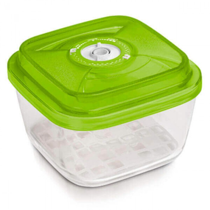 Стеклянный контейнер 19x19x9,5 см 2,2л зеленый