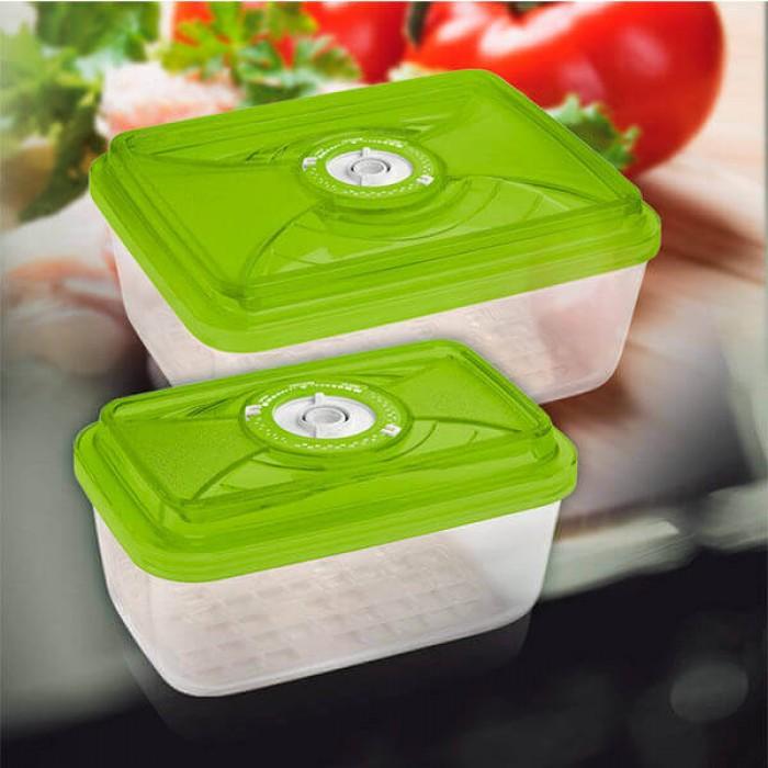 Стеклянный контейнер 20x13x8,5 см 1,5л зеленый