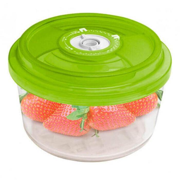 Стеклянный контейнер круглый Ø18x9,5 см 1,8л зеленый
