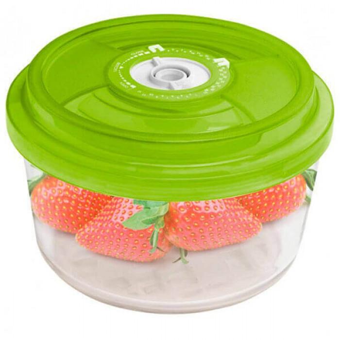 Стеклянный контейнер круглый  Ø23x10,5 см 3,3л зеленый