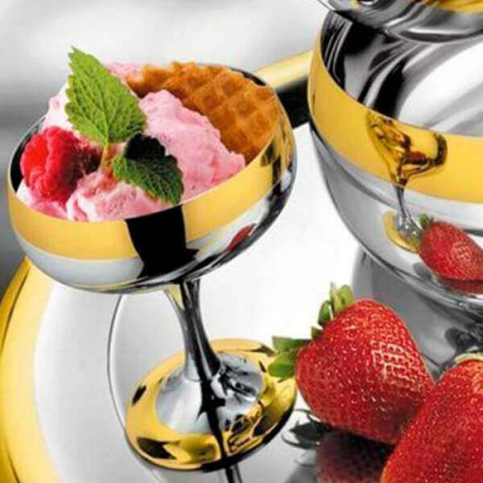 """Набор """"Барон"""" для десерта - с серебряным покрытием и золотым декором"""