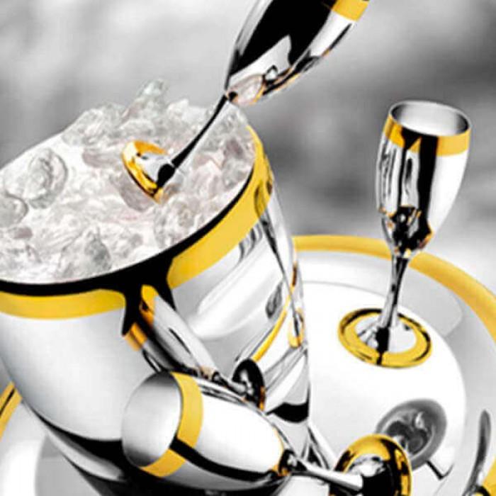 """Набор бокалов """"Ла Перле"""" - с серебряным покрытием и золотым декором"""